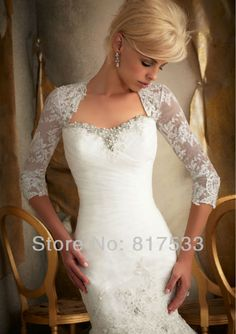 part sleeved lace bridal shrug
