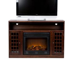 Indoor Electric Fireplace and TV Media Console Stand for master bedroom. Could be placed on a wooden platform (or stone platform) made to put the fireplace at correct height to be seen from the bed! Large Electric Fireplace, Electric Fireplaces, Floating Fireplace, Radiant Heaters, Fireplace Accessories, Wall Outlets, Fireplace Design, Fireplace Kitchen, Fireplace Ideas