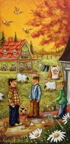 Christine Genest ~ A Crazy Year Arte Country, Illustration Art, Illustrations, Naive Art, Designs To Draw, Farm Animals, Painting & Drawing, Puzzles, Countryside
