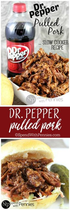 Dr. Pepper Pulled Pork!  This is an amazing slow cooker recipe and I LOVE coming home to dinner in the crock pot!!  This works with root beer too!! <3  YUM!