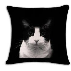 Linen Cushion Cover Cats Decorative