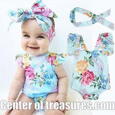 Newborn Baby Girl Blue Floral Romper Clothes Cute Ruffles Baby Bo – Center Of Treasures Cute Baby Girl, Baby Girl Newborn, Cute Babies, Baby Girl Headbands, Baby Girls, Newborn Outfits, Kids Outfits, Baby Girl Fashion, Kids Fashion