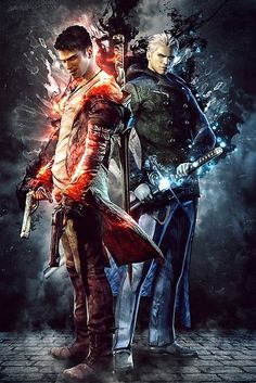 Buy 'DmC Devil May Cry Twin brothers' by SyanArt as a Classic T-Shirt, Tri-blend T-Shirt, Graphic T-Shirt, Sticker, iPhone Case, Case/Skin for Samsung Galaxy, Poster, Travel Mug, Art Print, Canvas Print, Framed Print, Photographic Print, M...