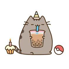 Pusheen having a party with bb tea, cupcake and pokeball Kawaii Doodles, Cute Kawaii Drawings, Cute Animal Drawings, Gato Pusheen, Pusheen Love, Chat Kawaii, Kawaii Cat, Kawaii Shop, Nyan Cat