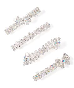 This Rhinestone & Silver Butterfly Hair Clip Set is perfect! #zulilyfinds
