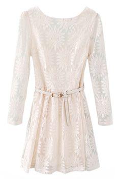 ROMWE | Belted White Lace Dress, The Latest Street Fashion