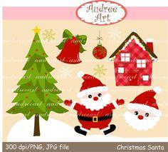 Christmas clip art Santa christmas clip art christmas by audreeart, $3.50