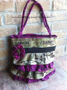 My friend Kendra makes military purses. I love them! http://www.facebook.com/#!/pages/Custom-Military-Purses-By-Kendra/187364527976984