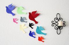 Multicolored Doves Bird wall art Wall Bird Art by MyDreamDecors