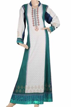 """aljalabiya.com: """"Northern Emerald"""" Two color cotton kaftan with embroidery and print (N-13666-18)  $98.00"""