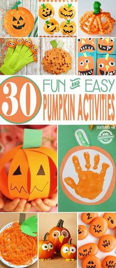 30 Easy Pumpkin Activities for Kids! Fall activities for preschoolers and toddlers. Check out these 30 Easy Pumpkin Activities for kids to make this fall. Create pumpkin crafts, and pumpkin art that your kids will be proud to show off! Halloween Crafts For Kids, Holiday Crafts, Fun Crafts, Creative Crafts, Halloween Ideas, Halloween Decorations, Fall Preschool Activities, Pumpkin Preschool Crafts, Fall Crafts For Preschoolers