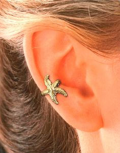 Starfish Ear Cuff in Gold Vermeil by EarCharms on Etsy, $25.00