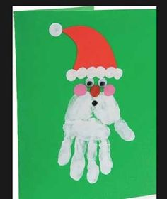 Easy DIY Holiday Crafts - Handprint Santa - Click pic for 25 Handmade Christmas Cards Ideas for Kids
