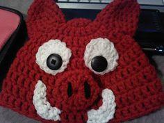 Crochet razorback football hat. Free pattern on this blog. yay