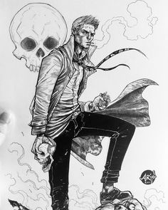 "1,136 curtidas, 59 comentários - Ario Anindito (@arioanin) no Instagram: ""John C. My live sketch result from last night #instagramlive. Commission for a client, black n…"" Matt Ryan Constantine, Constantine Hellblazer, John Constantine, Constantine Tattoo, Comic Character, Comic Book Characters, Comic Books Art, Dc Comics, Anime Comics"
