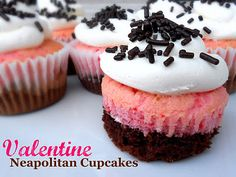 Valentine's Day Neapolitan Cupcakes- strawberry and chocolate in one! SixSistersStuff.com