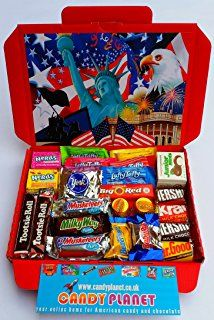 American Hershey's Retro Chocolate Sweets Candy Present Hamper Reese's Mini Bite Fun Size Bars Retro Sweets Tootsie Roll Junior Mints Wonka Laffy Taffy Nerds Jolly Ranchers Butterfinger Baby Ruth 3 Musketeers Milky Way Big Red Miniatures ONLY BUY FROM CANDYPLANETUK IF YOU WANT TO RECEIVE THE ITEM IN THE PICTURES AND AS DESCRIBED IN THE DESCRIPTION. NO ONE ELSE IN THE UK HAS ALL THESE SUPER RARE MINIATURE AMERICAN CHOCOLATES AND GLOSSY RED GOOD QUALITY HAMPER BOXES!