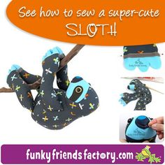 Slowpoke is a seriously cute, three-toed Sloth who loves snoozing, sleeping and hanging out. He's a simple pattern so you can make a whole sleuth of sloths! He has Velcro claws to attach himself to the nearest siesta spot for a bit of shut-eye! Sewing Stuffed Animals, Stuffed Toys Patterns, Sewing Hacks, Sewing Tutorials, Sewing Ideas, Cute Sloth, Sewing Toys, Sewing Crafts, Love Sewing