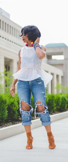 Peplum top, Distressed Jeans, Pom Earrings, Indianapolis Fashion Blog, Sweenee Style, White Top, Distressed Denim