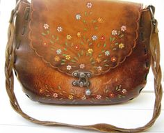 Vintage Leather Purse  Hand Tooled  with Metal Latch by TooTooKute, $75.00