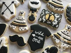 Black And Gold Tribal Boho Baby Shower Sugar Cookies TheIcedSugarCookie.com Cookie Deaux Creations