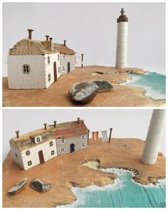 Kristy Elson Designs. Clay Houses, Putz Houses, Ceramic Houses, Miniature Houses, Bird Houses, Ceramic Clay, Driftwood Sculpture, Driftwood Art, Beach Crafts