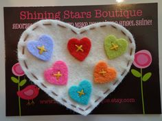 Girls Hair Accessories - Felt Hair Clip - Ivory Felt Valentine Heart With 'Tiny Colorful Hearts' Boutique Hair Clippie For Girls Of All Ages. $3.50, via Etsy.