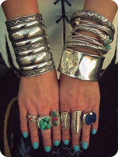 silver cuffs and bangles. Bold Jewelry, Ethnic Jewelry, Turquoise Jewelry, Statement Jewelry, Fashion Jewelry, Egyptian Jewelry, Bohemian Jewelry, Silver Bangles, Silver Cuff