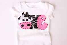 Farm birthday shirt one cow 1st t shirt barnyard by CodyandKait