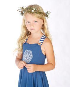 Girls Blue flower Pinafore dress Doodlebug Summer 2014 www.ilovedoodlebug.com.au
