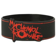 My Chemical Romance Lines Rubber Bracelet | Hot Topic ($7) ❤ liked on Polyvore featuring jewelry, bracelets, accessories, my chemical romance, rubber bracelets, rubber bangles, bracelet bangle, red bracelet, red jewelry and bracelet jewelry