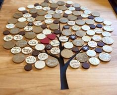 This was a souvenir of attendees at a wedding.  I would like to use bottle caps and develop a family tree with the kids in this fashion. #kidscraft #familytree