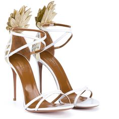 Aquazzura Pina Colada Leather Sandals ($760) ❤ liked on Polyvore featuring shoes, sandals, summer shoes, metallic sandals, leather sandals, evening shoes and ankle strap sandals