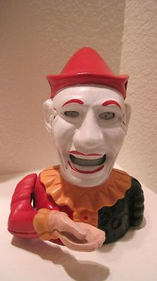 Vintage Clown Cast Iron Mechanical Money Bank Box