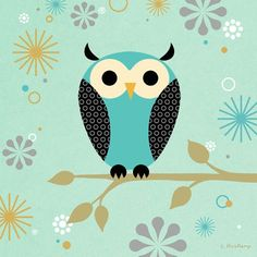 """Blue Owl on a Branch"" kids canvas wall art by Steve Haskamp for Oopsy daisy, Fine Art for Kids $69"
