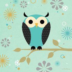 """Blue Owl on a Branch"" kids canvas wall art by Steve Haskamp for Oopsy daisy, Fine Art for Kids $69"