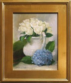 Painting of white roses in a white pitcher next to a blue hydrangea flower