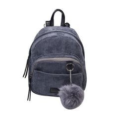 b52bd23bde Mara s Dream Girls Backpack Small Backpack Women Shoulder Bag Fur Ball Solid  Color Corduroy Back Pack Bags Winter Schoolbags