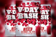 Valentine's Day Party Flyer Template by Flyermind on Creative Market