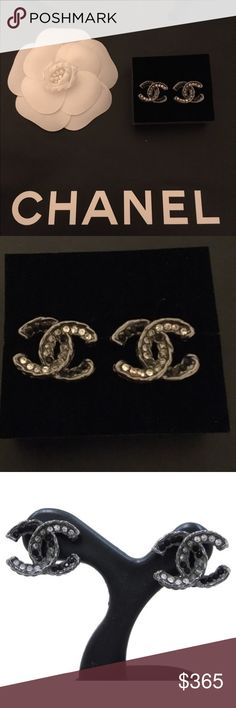 Authentic Chanel Earrings Chanel Earrings CC Logo Crystal Black Grey Ruthenium Silver.  Missing 3 stones but not noticeable otherwise perfect. Lost box and dust bag, includes Chanel shopping bag. CHANEL Jewelry Earrings