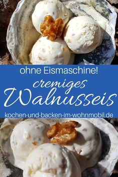 Ice cream recipe without an ice cream machine: walnut ice cream with caramelized walnuts ›cook-and-backen-im-wohnmobil.de – Recipes And Desserts Paleo Ice Cream, Banana Ice Cream, Ice Cream Recipes, Paleo Dessert, Healthy Dessert Recipes, Brunch Recipes, Vegetarian Recipes, Spaghetti Eis Dessert, Caramelized Walnuts