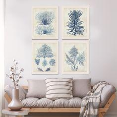 Nautical Decor Set 4 prints - Indigo Blue Seaweed 1 - Nautical Print Wall Art beach house decor picture bathroom decor Indigo Blue decor