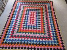 Vintage Antique Handmade Around The World Patchwork Quilt | eBay $395.00
