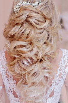 half up half down wedding hairstyles ideas bright blond hair with accessory komarova websalon