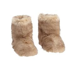 Fur Slippers, Taupe, M