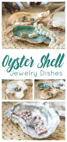 DIY Oyster Shell Jewelry Dishes This pretty oyster shell craft will give you an excuse to take a beach trip or treat yourself to a seafood dinner. Save the shells from your feast or beach combing to make these gorgeous oyster shell jewelry dishes. Jewelry Dish, Shell Jewelry, Jewellery Storage, Diy Jewelry, Vintage Jewelry, Jewelry Making, Shell Schmuck, Diy Schmuck, Oyster Shell Crafts