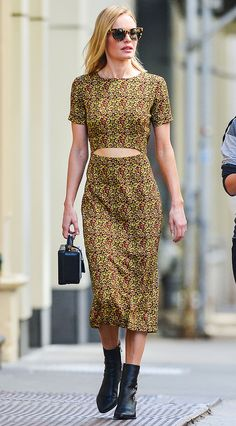 Kate Bosworth in a printed midi dress and black ankle booties