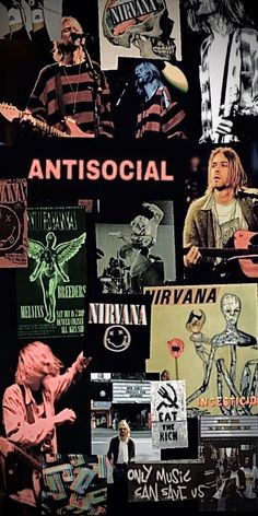 Iphone Wallpaper Rock, Hype Wallpaper, Music Wallpaper, Aesthetic Iphone Wallpaper, Rock Band Posters, Rock Poster, Magazine Collage Walls, Nirvana Kurt Cobain, Band Wallpapers