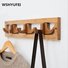 Modern Simple Clothes Hanger Natural Nanzhu Making Hooks Home Decorations / Wall Decoration Foldable / Clothes Hooks / Durable-in Hooks & Rails from Home & Garden on AliExpress