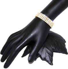 Rhinestone 4 Rows Stretch Bracelet Gold / AZBRST013-GLD Arras Creations http://www.amazon.com/dp/B007N8E2AG/ref=cm_sw_r_pi_dp_uV19ub17WZG40